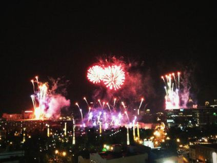 Fireworks in Atlanta for the Fourth of July with Jarrett.